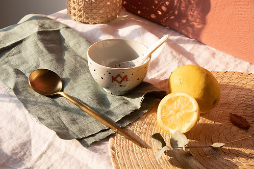 GORDES - Petits bols à thé moucheté bleu