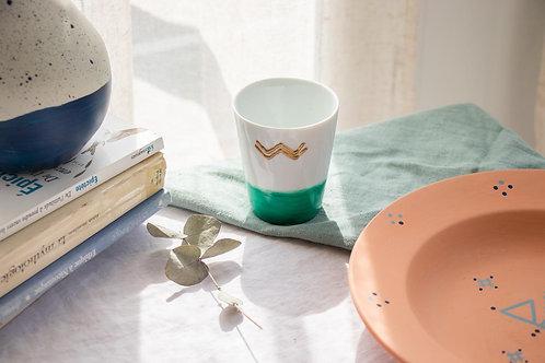 LATTE - Mug en porcelaine émeraude et blanc