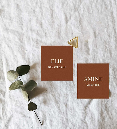 Marque-places de mariage terracotta minimaliste