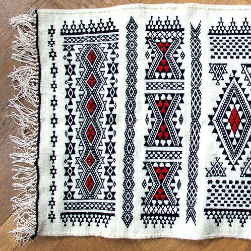 TAQA - Tapis berbère en laine blanc tissé à la main