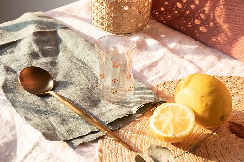 ZILIS - Lot de 6 verres à thé oriental à motifs orange et doré