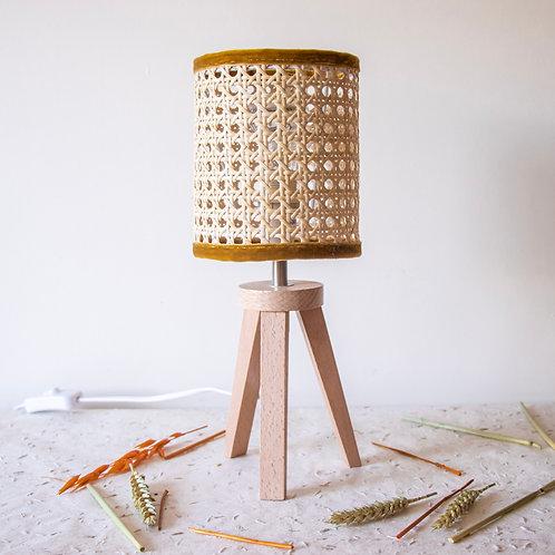 POLLINA - Lampe en cannage biais velours