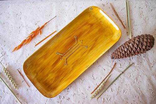 FREJUS - Plat apéritif en porcelaine moutarde