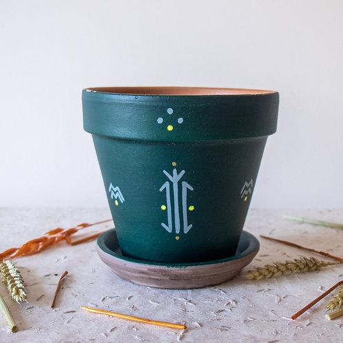 CALVI - Pot de fleur en terre cuite vert foncé