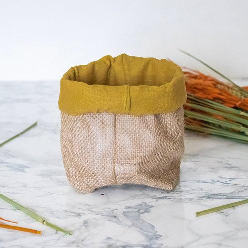 PIANA - Pochon de rangement en jute moutarde