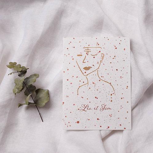 Faire-part de mariage nude silhouette