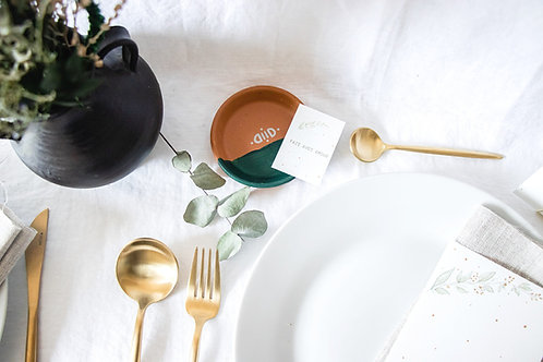 Petit vide-poche en terre cuite vert champêtre - Cadeau invité mariage