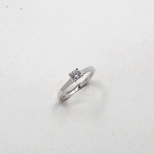 Solitaire diamant anneau carré