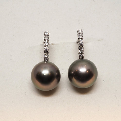 Boucles d'oreilles perles de tahiti et diamants
