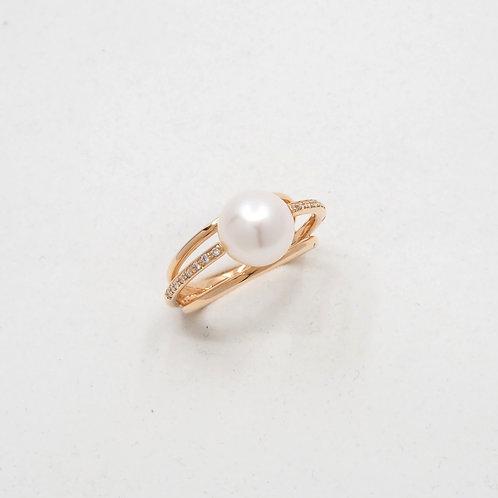 Bague diamant et perle