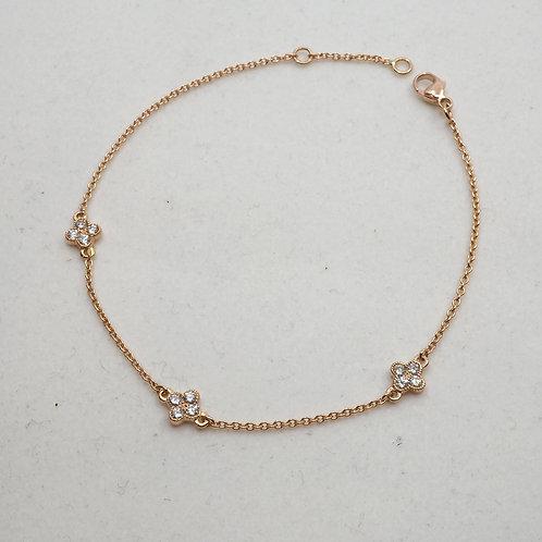 Bracelet diamants trèfles