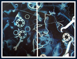 Spinning in Spac- Cyanotype