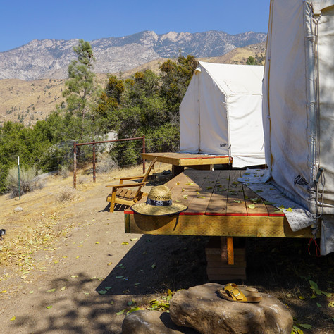 Decks outside cabins