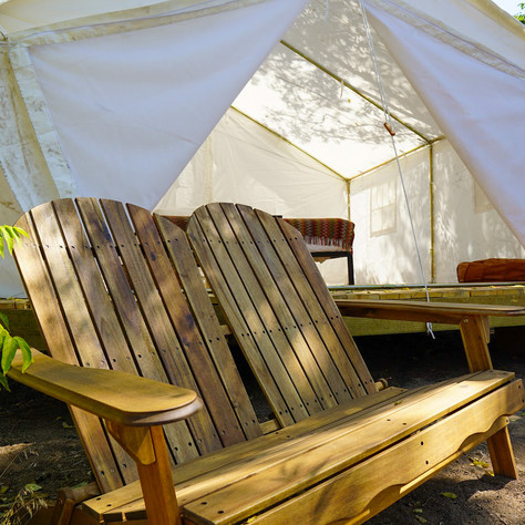 Private seating outside cabin