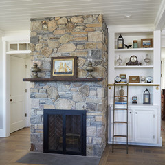 Stone fireplace with built-in