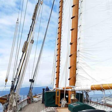 Sailing aboard the Zodiac, 160 schooner