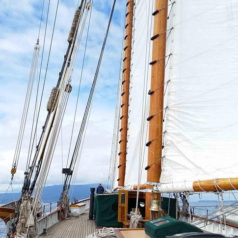 Sailing aboard the Zodiac, 160 schooner