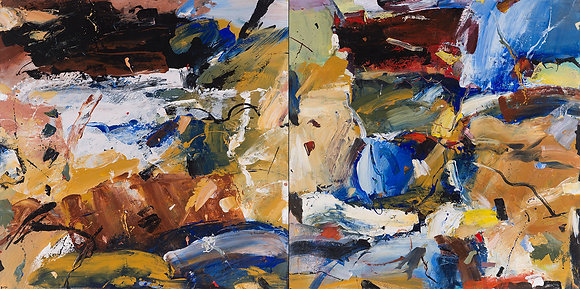 Encounter (Diptych) by Murray Prichard Abstract Art, Australian Expressionism Artist, Fine Art Limited Edition Prints