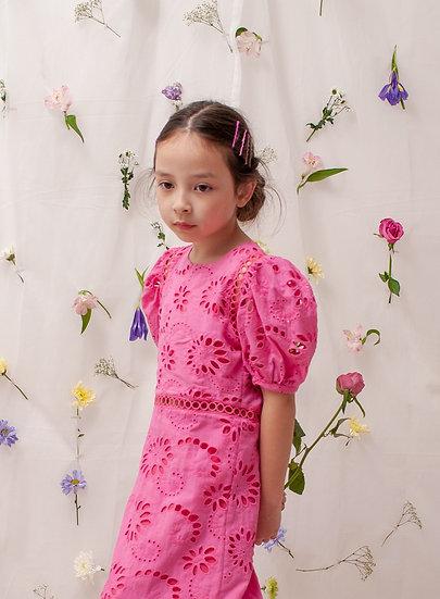 Iris Eyelet Dress in Pink