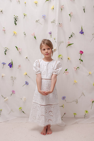 Iris Eyelet Dress in White
