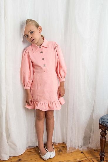 Denim Frill Dress in Pink