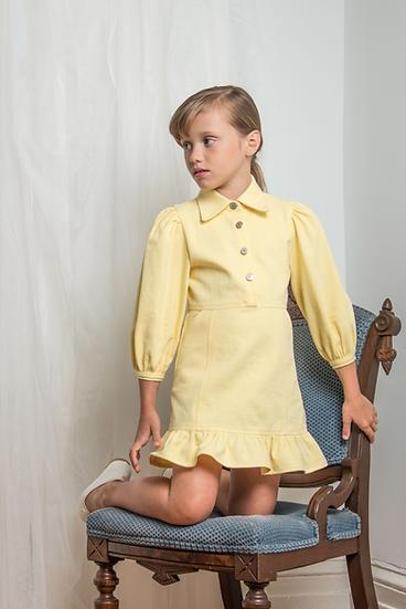 Denim Frill Dress in Yellow