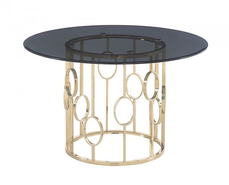 Smoked Glass & Champagne Gold Dining Table