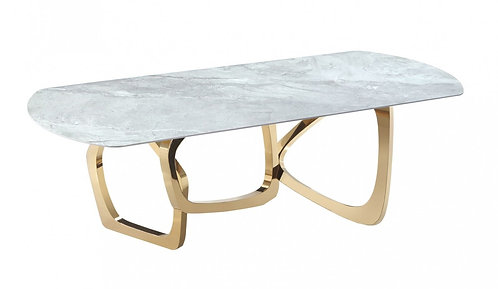 Modern Gray Microlite & Gold Dining Table