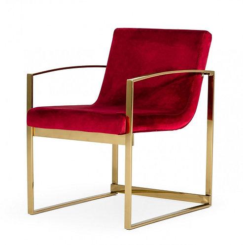 Modern Red Velvet Accent Chair