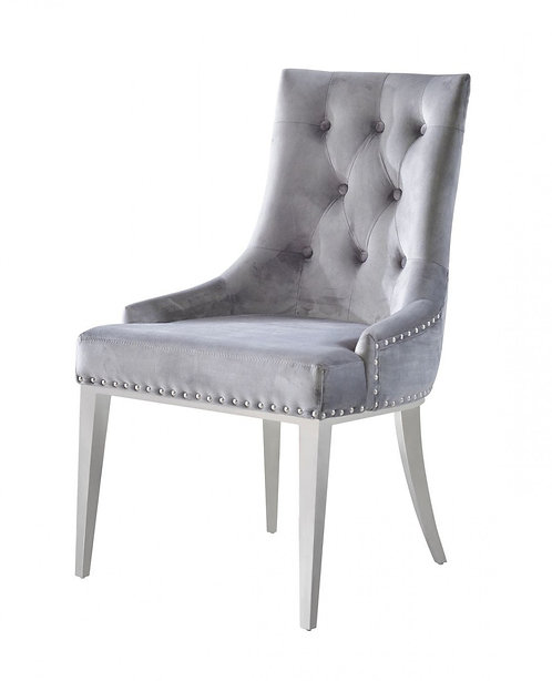Contemporary Grey Velvet & Stainless Steel Dining Chair (Set of 2)