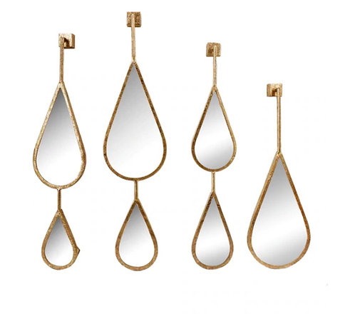 Wall Mirrors Set of 4 Gold