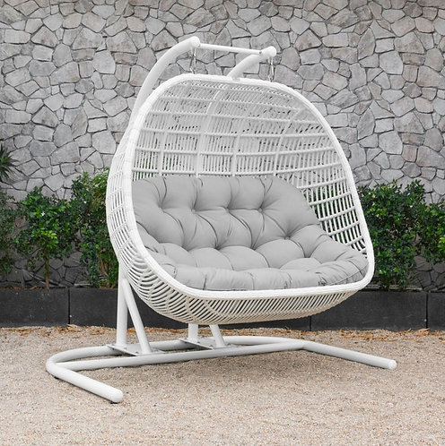 Outdoor White & Beige Hanging Chair