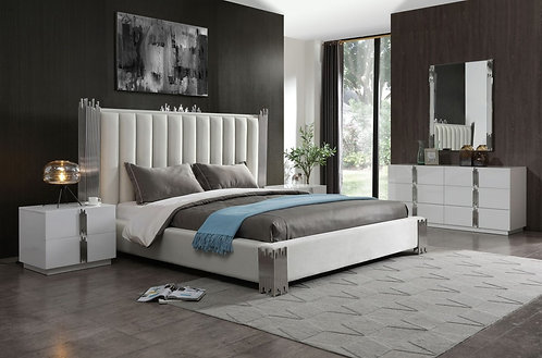 Modern White & Stainless Steel Bed