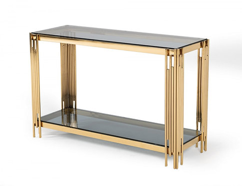 Modern Smoked Glass & Gold Console Table