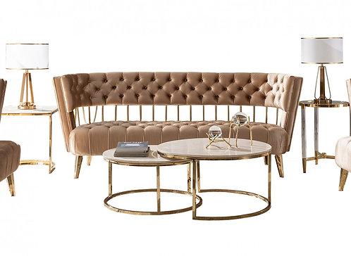 Beige & Gold Fabric Sofa