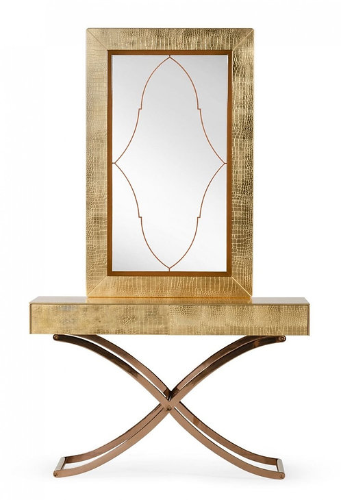 Gold  Console Table & Mirror