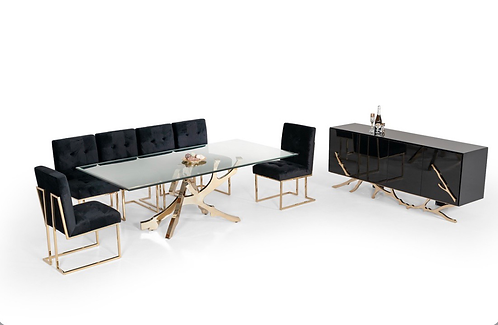 Modern Glass & Gold Dining Table