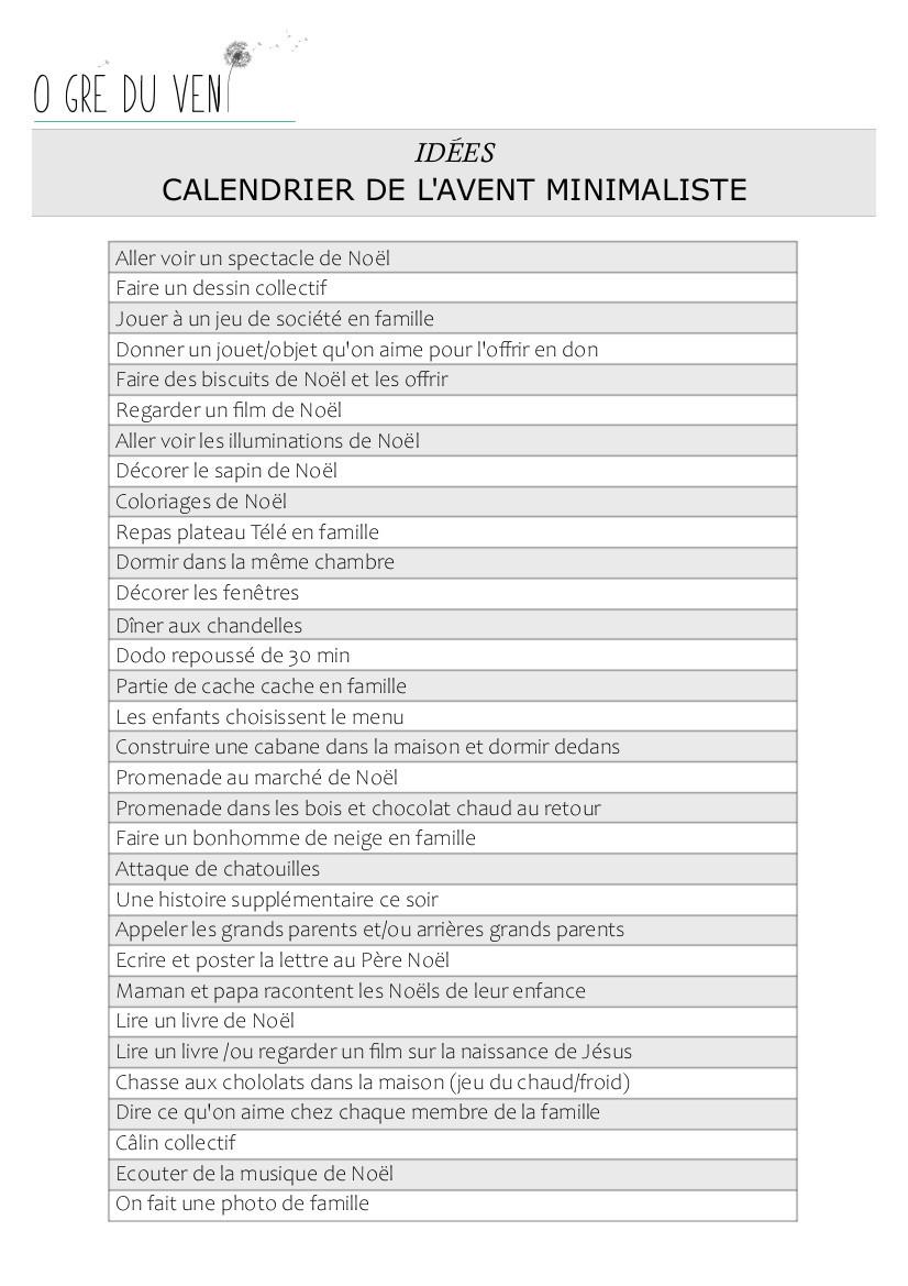 PDF à imprimer Calendrier des bons moments, immatériel