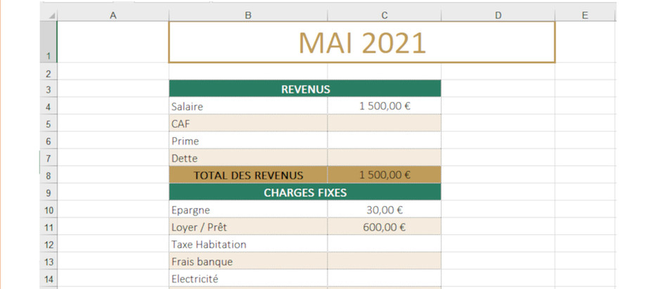 Budget Excel pour le système des enveloppes
