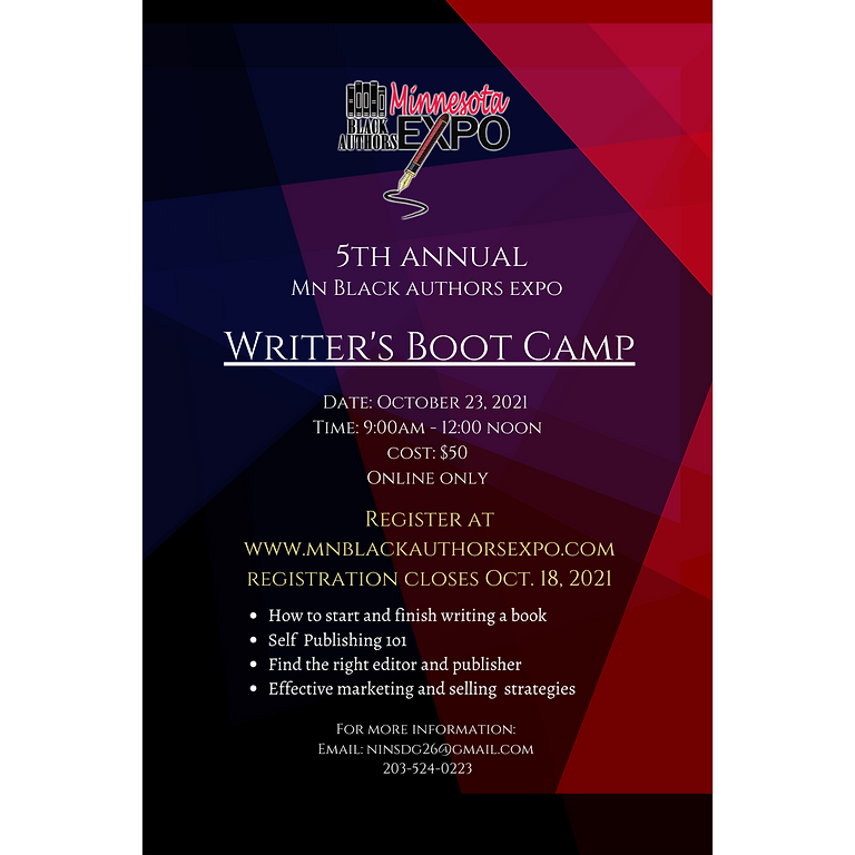 2021 Expo Writer's Boot Camp Registration