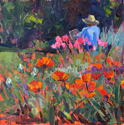 Melanie Levitt Painter in the Poppies 8x