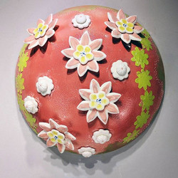 Salmon Pink with Chartreuse Mono-print flowers Dome, 22x50x50cm