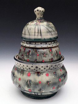Kraft.Green 3 part lidded vessel.2017. Oconee.10x7x7.midrange stoneware with glaze