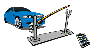 Illustration of gate opener with clear b