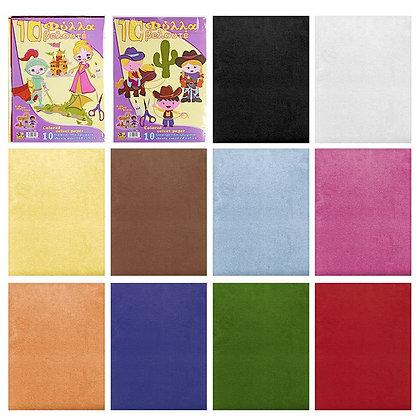 Kadife Renkli Kağıt Seti 10 Renk 25x35cm