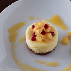 Roasted Peach Mini Cheesecake with Candied Ginger & Ginger Crust