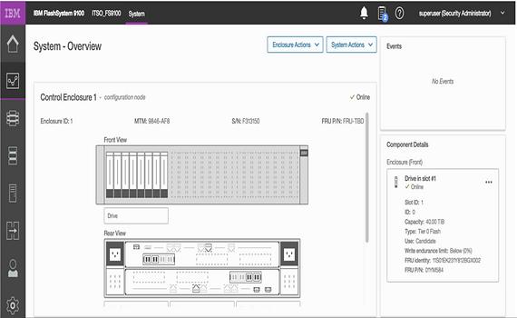 IBM FlashSystem 9100 interface