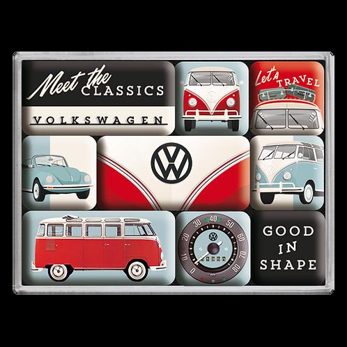 VW - Meet The Classics Magnet-Set (9teilig) 7 x 9,3 x 2 cm