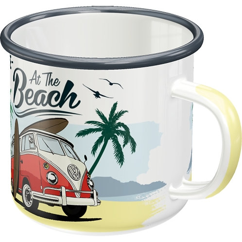VW Bulli - Beach Emaille-Becher 8x8x8