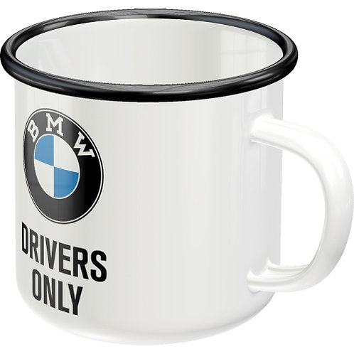 BMW - Drivers Only Emaille-Becher 8x8x8